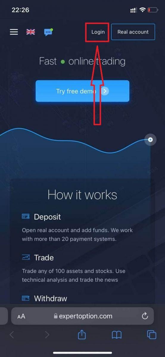 Как войти в систему и начать торговать бинарными опционами на ExpertOption