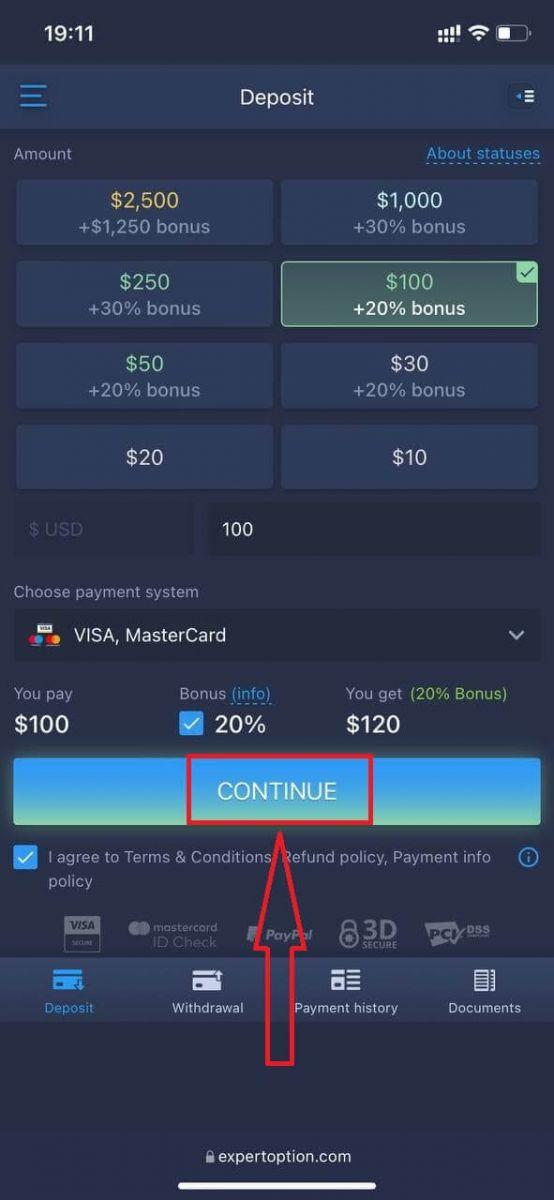 Как зарегистрироваться и внести деньги на ExpertOption